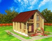 Пример небольшого дома, который может быть построен из оцилиндрованного бревна