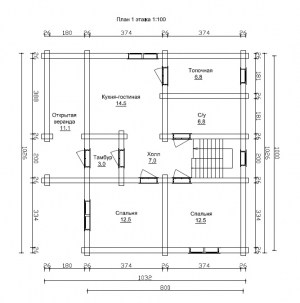 План 1 этажа проекта дома из бревна 8 на 10