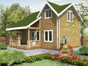 Проект дома из бревна 8 на 8