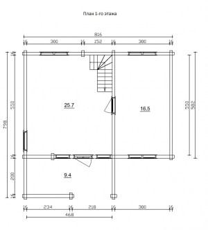 План 1 этажа проекта дома из бревна 8 на 8