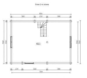 План 2 этажа проекта дома из бревна 8 на 8