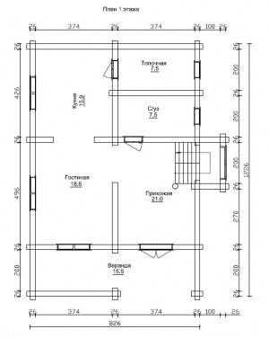 План 1 этажа проекта дома из бревна 8 на 12