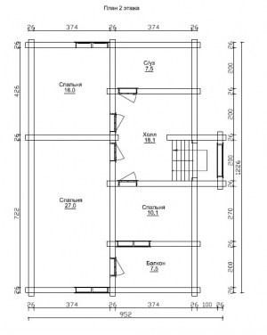 План 2 этажа проекта дома из бревна 8 на 12