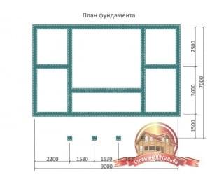 План фундамента для бани из бруса 7х9