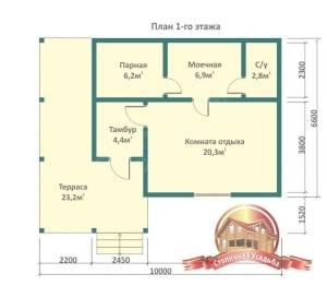 Планирование пространства этажа бани из бруса