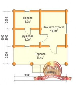 План первого этажа проекта бани из бруса 6х6
