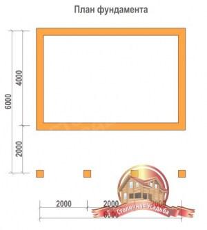 План фундамента для деревянной баньки 6х6