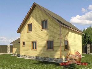 Типовой проект большого деревянного дома с пристройкой-гаражом