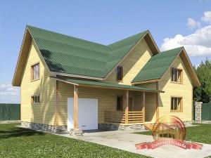 Проект дома из бруса 8х10 в 2 этажа с гаражом и котельной