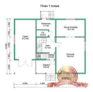 План первого этажа проекта дома из бруса 8х10 в 2 этажа с гаражом и котельной