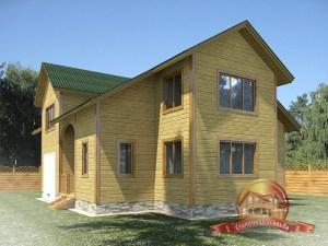 Проект дома 11х11 из бруса с гаражом в 2 этажа