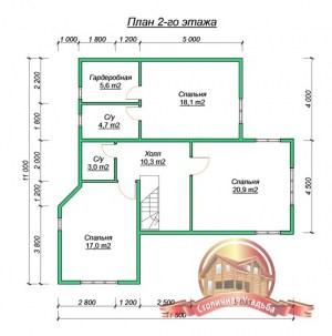 План второго этажа проекта дома 11х11 из бруса с гаражом в два этажа