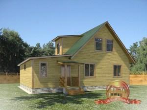 Проект деревянного дома с гаражом, интересный внешний вид здания