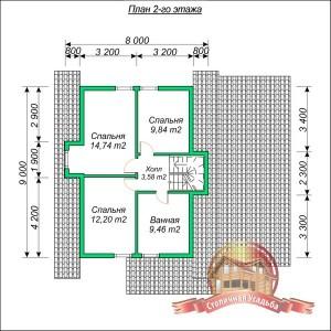 План второго этажа большого проекта дома из бруса 9х12 с гаражом и котельной, 2 этажа