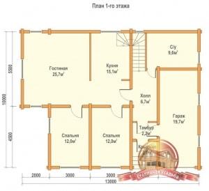 План 1 этажа проекта двухэтажного дома 10х13 из профилированного бруса с гаражом
