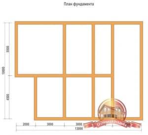 План фундамента проекта двухэтажного дома 10х13 из профилированного бруса с гаражом