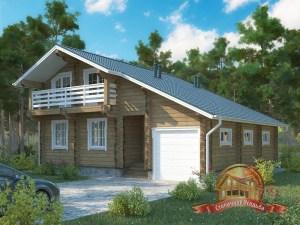 Современный вариант строения из древесины, дом с гаражом