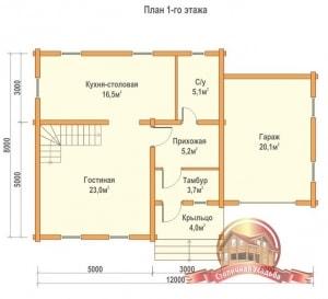Планировка первого этажа двухэтажного строения из бруса 8х12 с гаражом