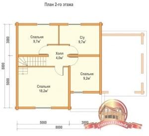 План 2 этажа брусового дома 8х12, три спальни