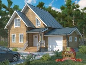 Проект двухэтажного дома 8х12 из бруса с гаражом