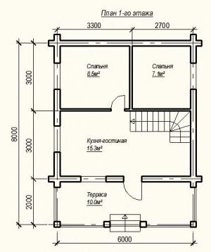 План 1 этажа проекта дома из бревна 6х6
