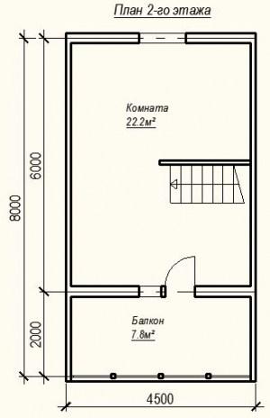 План 2 этажа проекта дома из бревна 6х6