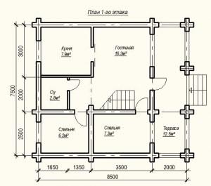 План 1 этажа проекта дома из бревна 7х8 метров