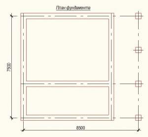 План фундамента проекта дома из бревна 7х8 метров