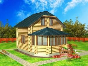 Проект дома из бревна 7 на 5 с верандой