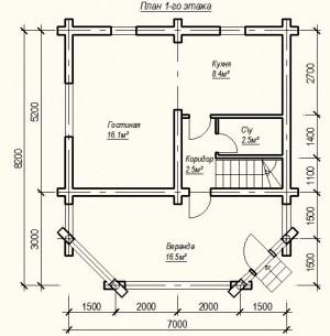 План 1 этажа проекта дома из бревна 7х5 метров