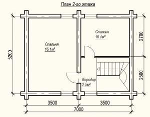 План 2 этажа проекта дома из бревна с верандой 7х5 метров