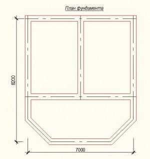 План фундамента проекта дома из бревна с верандой 7х5 метров