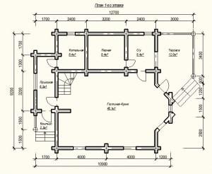 План 1 этажа проекта дома из бревна 9Х12 метров