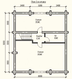 План 2 этажа проекта дома из бревна 9Х12 метров