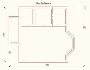 План фундамента проекта дома из бревна 9х12