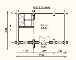 План 2 этажа проекта дома из бревна 6х8 метров