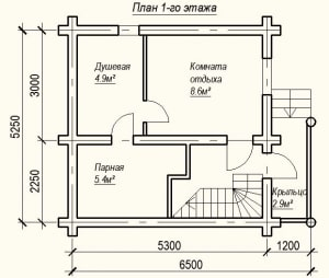 План 1 этажа проекта дома из бревна 5х6 метров