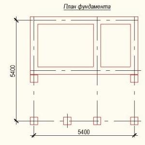 План фундамента проекта дома из бревна 5х5 метров