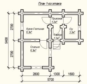План 1 этажа проекта дома из бревна 5х6