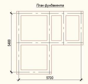 План фундамента проекта дома из бревна 5х6