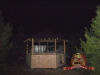 Деревянная беседка в дополнение к брусовому дому-бане 6х6
