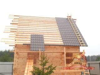 Установка металлочерепицы на крышу деревянного дома из бруса