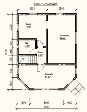 Планировка дома из бруса 6х7 с крытой верандой 1 этаж
