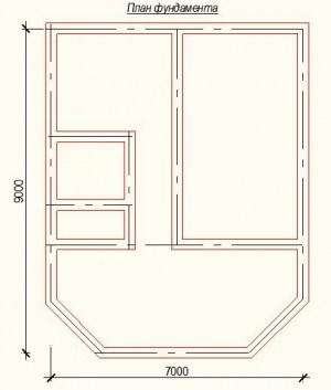 Планировка дома из бруса 6х7 с крытой верандой - фундамент