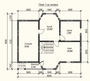 План первого этажа дома из бруса 7х8