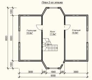 План второго этажа дома из бруса 7х8