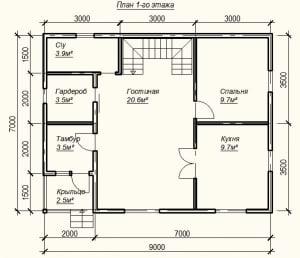Планировка проекта дома из бруса 9х7 - 1 этаж