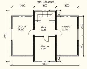 Планировка проекта дома из бруса 9х7 - 2 этаж