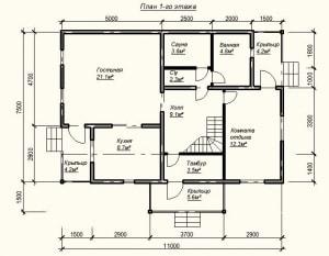 План 1 этажа проекта дома из бруса 7х11 метров