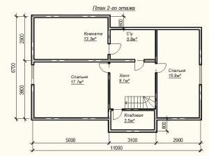 План 2 этажа проекта дома из бруса 7х11 метров